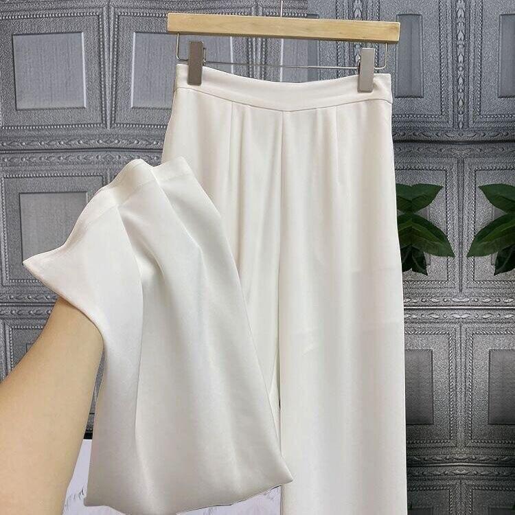 Женские летние брюки, женские укороченные брюки, повседневные брюки, мягкие широкие брюки