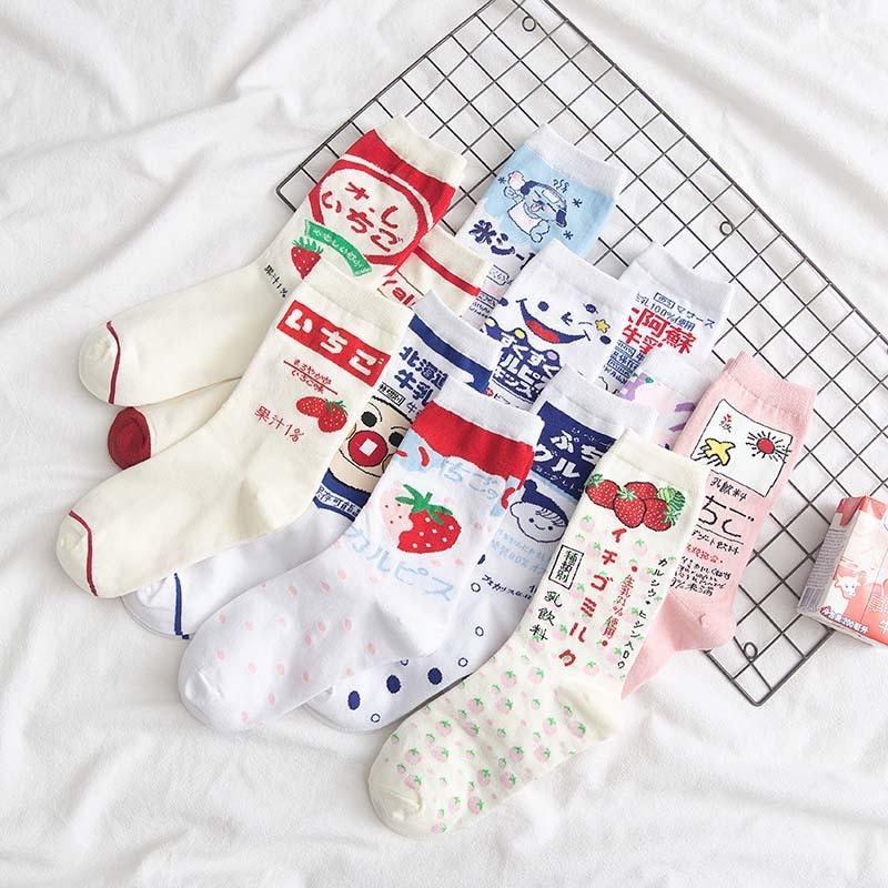 Calcetines de verano de señora, calcetines de algodón japonés coreano Flame Harajuku Vitality girl, calcetines de dibujos animados de fresa, Soda, leche, Matcha