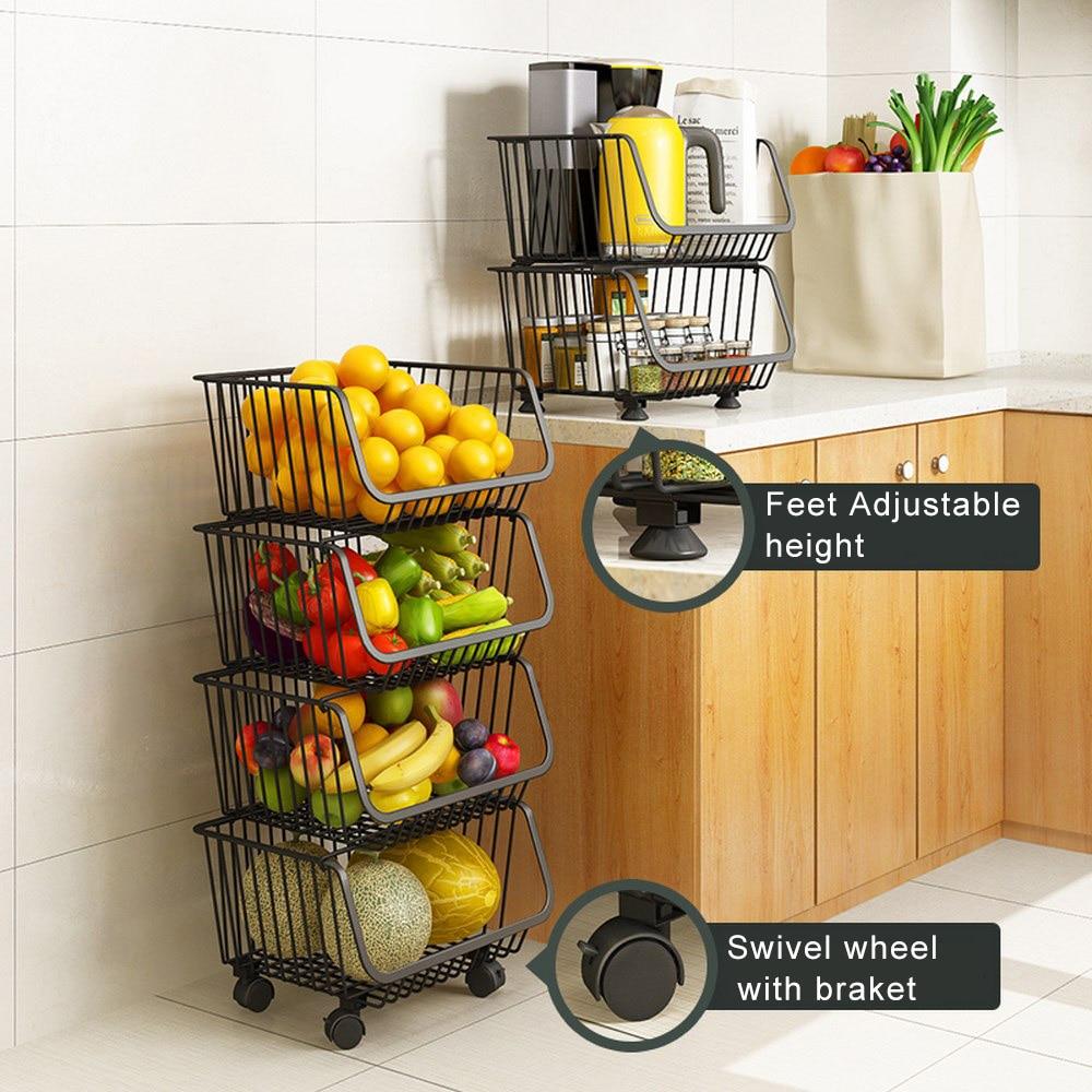 سلة تخزين متعددة الطبقات للفواكه والخضروات ، سلة مطبخ مع عجلات ، للاستخدام المنزلي
