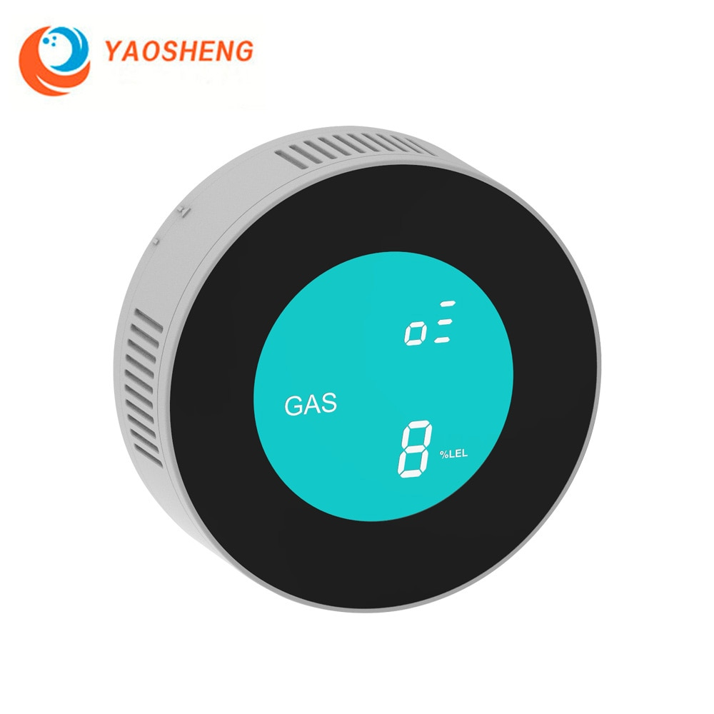 YAOSHENG-مستشعر تسرب الغاز مع شاشة LCD رقمية ، ومستشعر تسرب الغاز الطبيعي القابل للاحتراق ، ومستشعر إنذار ذكي للمنزل والمطبخ