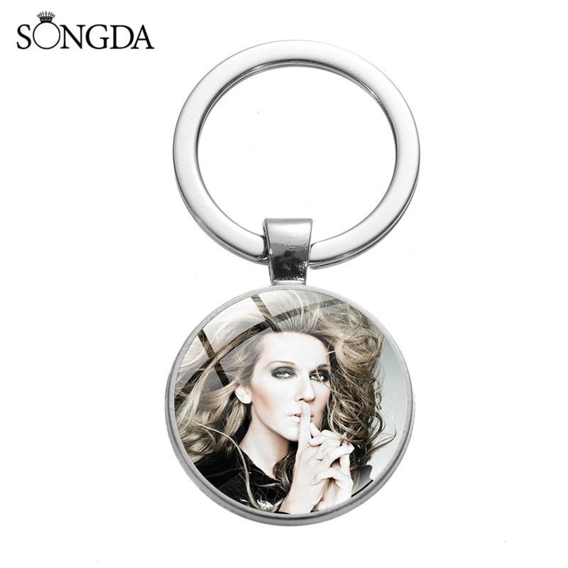 CelineDion Andrea Bocelli Famous Singer Glass Dome Key Chains Charms Trendy Round Ring Keychain Women Bag Accessories