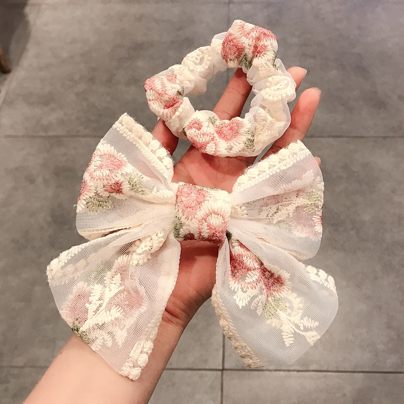 Ins Rose Embroidery super large bow hairpin super fairy lace hairpin net red back of head clip girl headdress