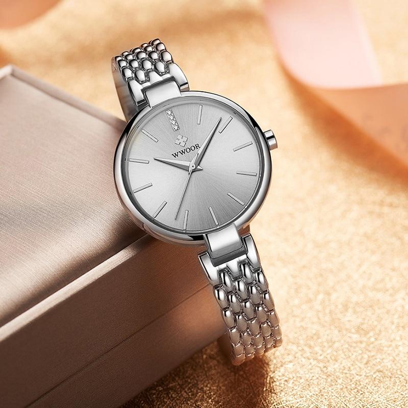 WWOOR Watches For Womens Fashion Watch 2020 Top Brand Luxury Rose Gold Steel Waterproof Quartz Wrist Women Female Bracelet Watch enlarge
