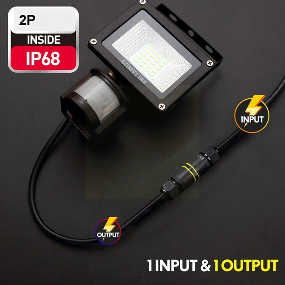 1pc IP68 impermeable recto Unión Eléctrica Pin Cable conector macho bloque para...