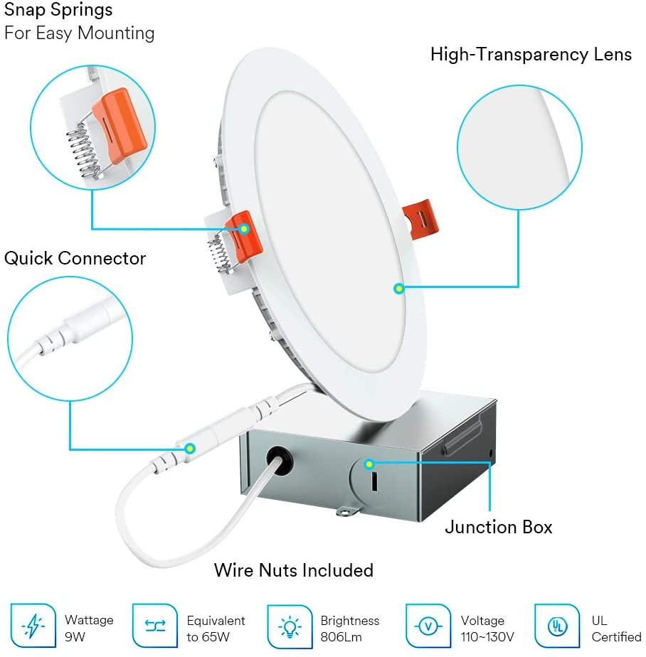 Lumary 4'' 9W Ultra-Thin Smart LED Recessed Light RGBWW Wi-Fi Smart Control LED Downlight Alexa LED Ceiling Lighting for Google enlarge