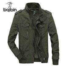 Plus Size Military Jacket Men Cotton Washed Windbreaker Outwear Bomber Jacket Multi-pocket Jaqueta M