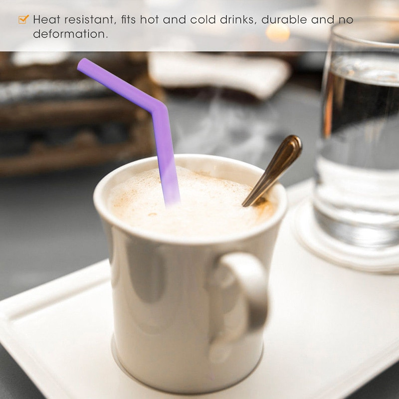 Silicone Straws Reusable Straight Bent Drinking Straw Long Flexible with Cleaning Brushes Set Party Accessory  - buy with discount