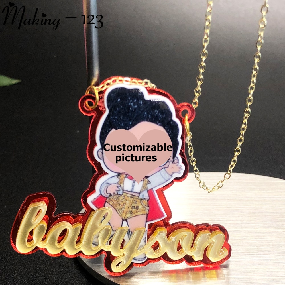 Making-123 Acrylic Name Necklace/Personalized Nameplate Custom Character Cartoon Name Women Kids Gift Fashion Jewelry Wholesale wholesale rose name necklace with crystal decoration personalized silver nameplate pendent celebrity party jewelry gift