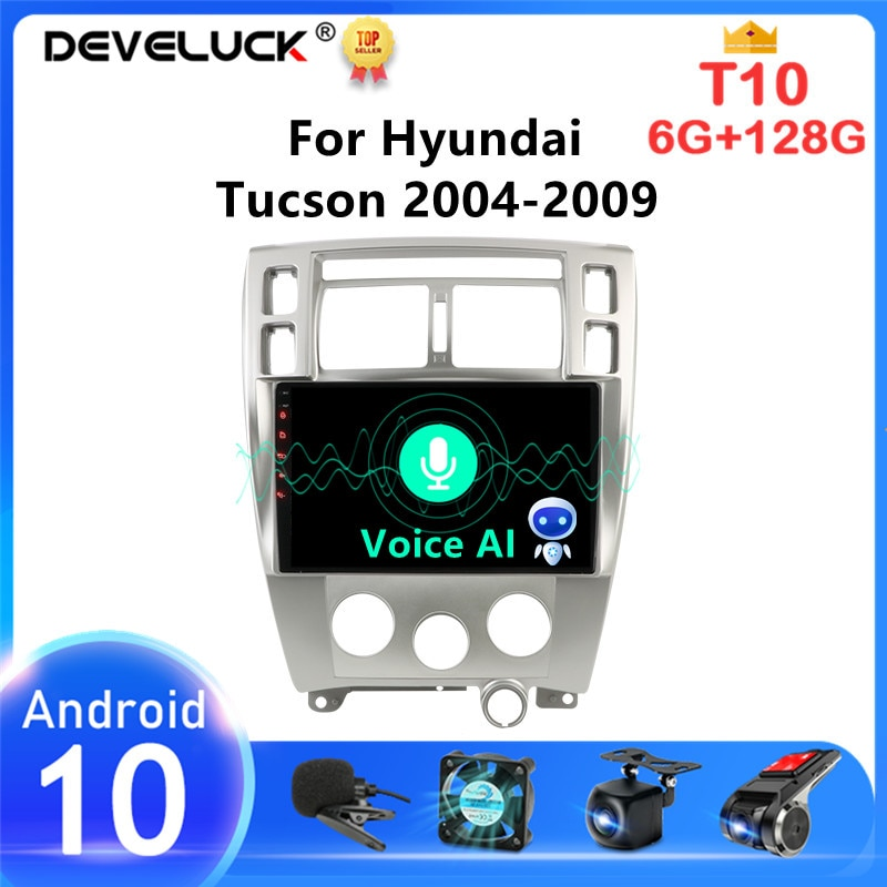 Фото - Автомагнитола с голосовым ИИ-интерфейсом на Android 10,0 для Hyundai Tucson 2004-2009 мультимедийный видеоплеер с сенсорным экраном 2Din динамик DVD автомагнитола jmcq 2 din android 10 для renault megane 2 2002 2009 мультимедийный видеопроигрыватель с сенсорным экраном gps rds dvd