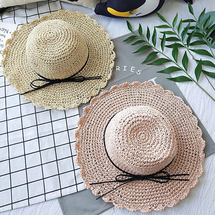 Parent-child boys and girls handmade crochet flower straw hat female beach hat beach sunscreen sun hat girls flower decorated straw hat