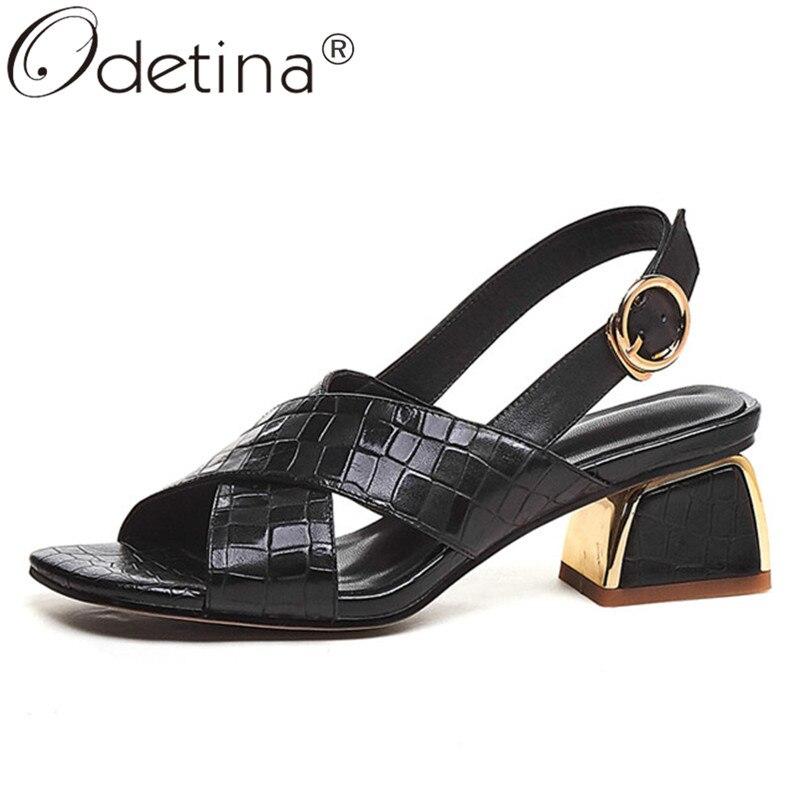 Odetina mujer moda Slingbacks hebilla Correa nuevos zapatos de vestir Lady Block Mid Heel antideslizante cuero de vaca punta cuadrada zapatos Casuales