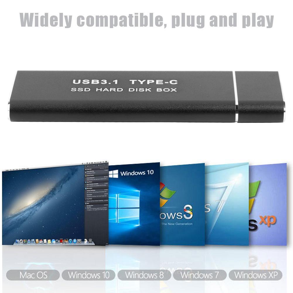 Carcasa de disco duro SSD USB3.1 tipo C a M.2 NGFF, caja de disco duro externo, funda para m2 SATA SSD USB 3,1 2230/2242/2260/2280