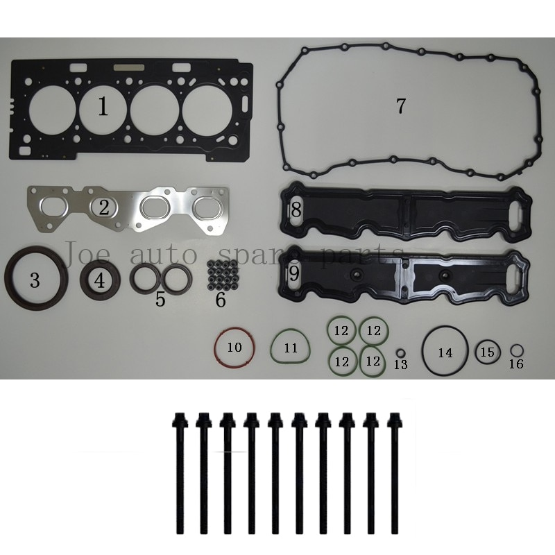 TU5JP4 TU5JP4B N6A NFR NFU Engine Full gasket bolt  kit for Peugeot 206 207 308 Grand Paid Citroen C4 Berlingo 1.6L 1587CC