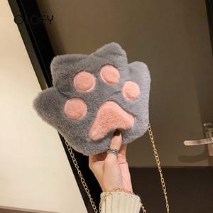 Cute Harajuku Women Handbags Cartoon plush ladies shoulder bag Chain Cat claw shape Messenger Bag Japanese style Crossbody Bags