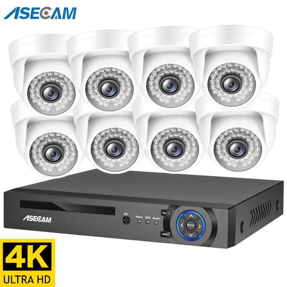 4K 8MP H.265 POE NVR 키트 CCTV 사운드 보안 시스템 실내 화이트 돔 마이크 IP 카메라 오디오 기록 비디오 감시 세트, CCTV 사운드 보안 시스템