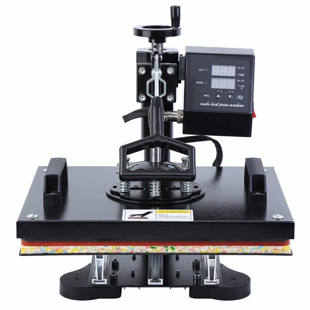صناديق التحكم في التصميم الجديد 5 في 1 آلة الصحافة الحرارية ماكينة طباعة على المجات الرقمية