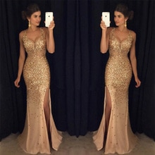 2021 spring hot sale split sequin dress long skirt with diamond women's party Important occasion dre