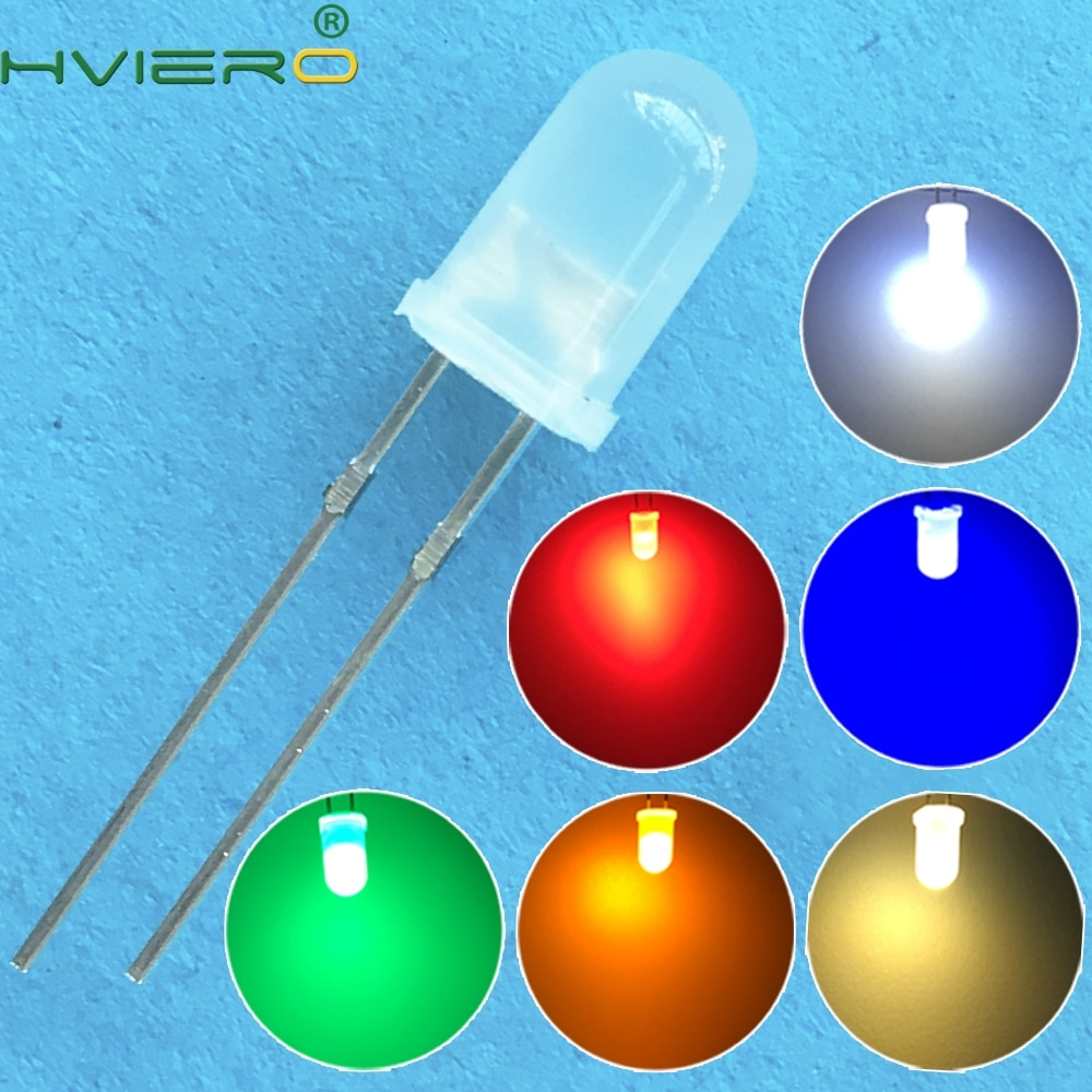 100pcs 5mm F5 Diffused White Red Green Blue Yellow Warm-white Round Light Emitting Diode 1.8~3.4V 2pin LED Bulb Diodes Led