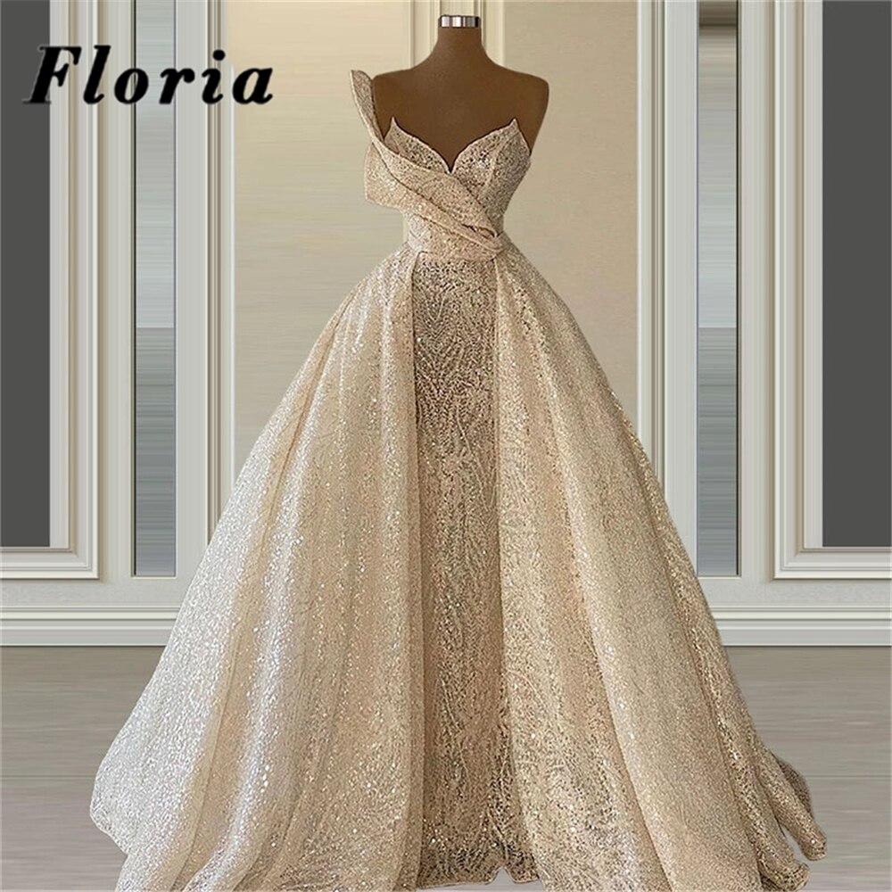 فساتين زفاف Vestido De Noiva Dubai Haute مطرز بالخرز طويل دانتيل زي العرائس الشرق الأوسط فستان عروس عربي 2021 مخصص