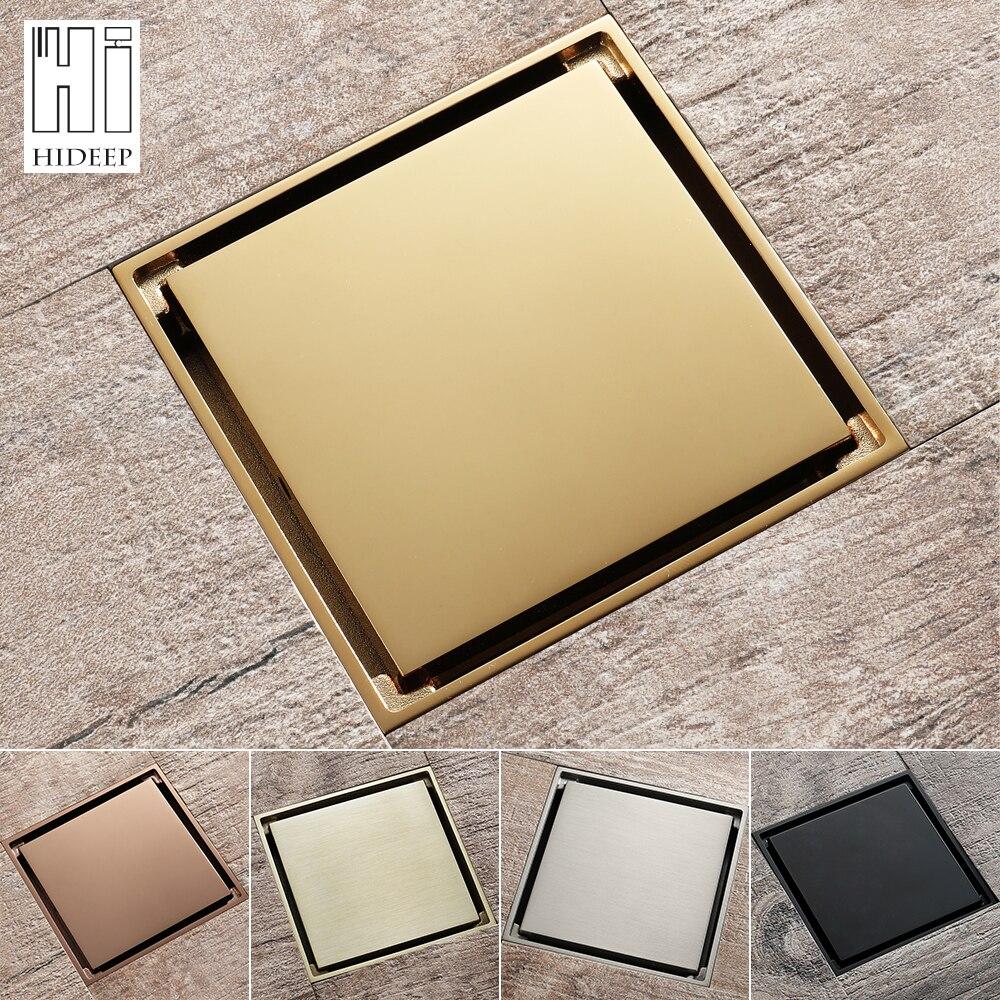 Hideep 10x10cm anti odor dreno de assoalho champanhe ouro latão banheiro telha inserção chuveiro drenos filtro cabelo