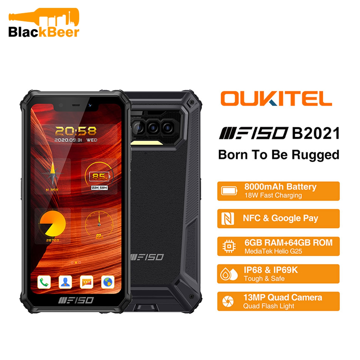 Oukitel F150 B2021 Android 10.0 Smartphone IP68/IP69K Rugged Outdoor Mobile Phone 6GB+64GB Octa Core Cellphone 13MP Rear Camera