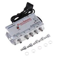 1 Pc Universal de 110 - 220 V 4 Forma de TV / VCR / CATV / Cable TV amplificador de señal de antena de divisor de accesorios de TV