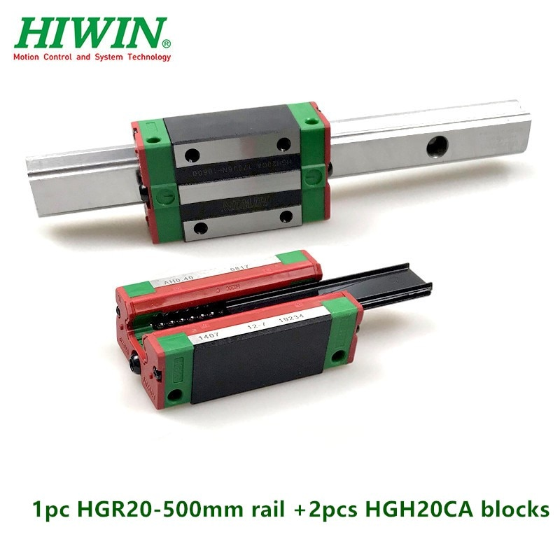 1 Uds 100% Hiwin guía lineal HGR20-500mm carril lineal + 2 uds HGH20CA cojinetes de carro de bloque estrecho para piezas de enrutador cnc