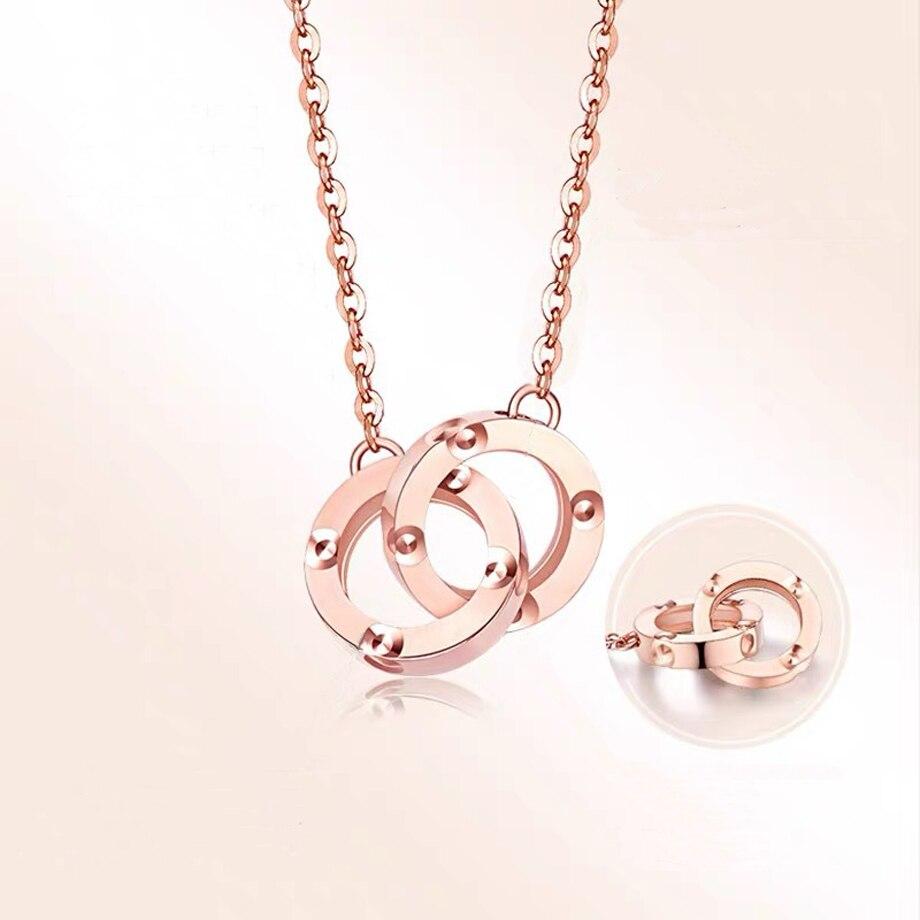 NYMPH-خاتم من الذهب عيار 18 قيراطًا مع قلادة ، عقد 100% ذهب وردي نقي AU750 ، مجوهرات راقية ، هدية للنساء D548