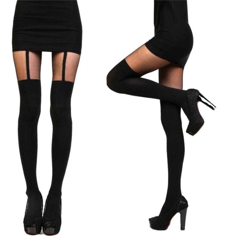 Fashion Women Girls Temptation Sheer Mock Suspender Tights Pantyhose Stockings Comfortable-pantyhose Beautiful-stockings