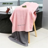 soft embroidery cotton bath towels for adults absorbent men women pink gray couple gift hotel 3575 cm 70140 cm large for home