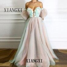 Платья из тюля 2020 А-ligne chaire fleurs perles Elegant islamique dubaï caftan saoudien arabe longue robe de s