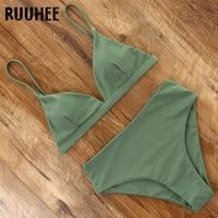 Купальник бикини RUUHEE 2021, Женский однотонный купальный костюм, зеленое бикини с накладками, женская пляжная одежда с высокой талией
