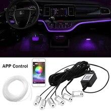 RGB LED Umgebungs Licht Atmosphäre Lampe 6 in 1 Auto Innen Dekoration Licht mit Faser Streifen Lichter Durch App Remote control 6M