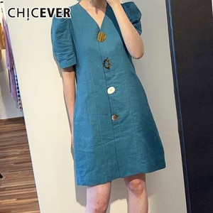 CHICEVER Korean Summer A Line Female Dress V Neck Puff Sleeve Loose Button Mini Dresses For Women 2020 Fashion New Clothes