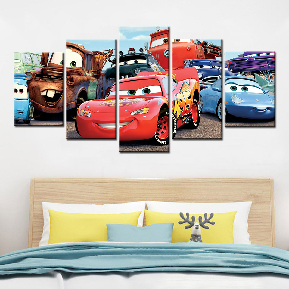 5 piezas de coches de dibujos animados arte de cartel de pintura de la lona HD impreso para habitaciones de niños, decoración para el hogar