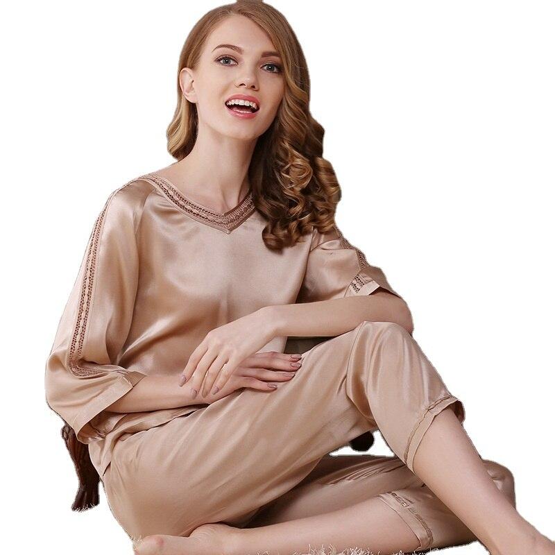 Pijamas de Seda para Mulher Verão e Outono Quartos de Mangas Serviço de Casa Primavera Três Compridas Seda Grande Tamanho Mulbery Pijamas Terno
