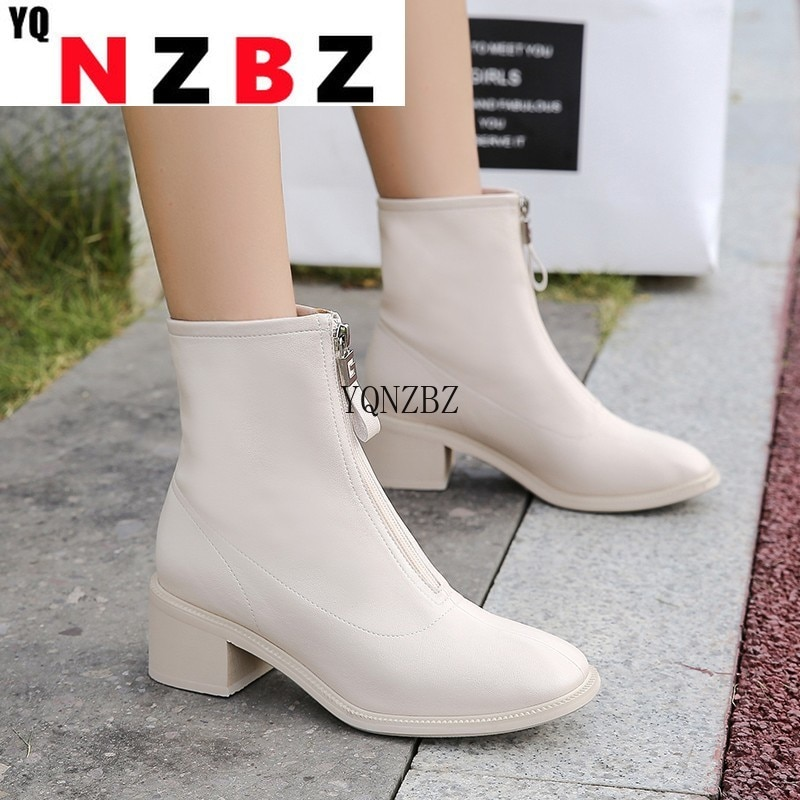 Women Boots Front Zipper Motorcycle Women Ankle Boots Fashion Comfortable Low Heel Leather Short Tub