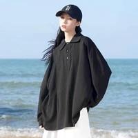 long sleeved polo shirt korean thin sweatshirtwomens mid length solid color harajuku style loose pullover student simple top