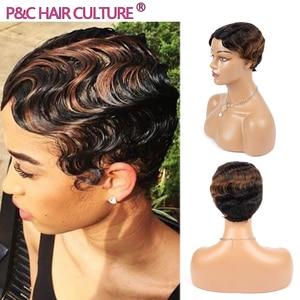 Винтажные короткие парики фея, волнистый парик на палец, 98% натуральные волосы, смешанные волосы для черных женщин, полностью машинное производство, высокое качество, дешево