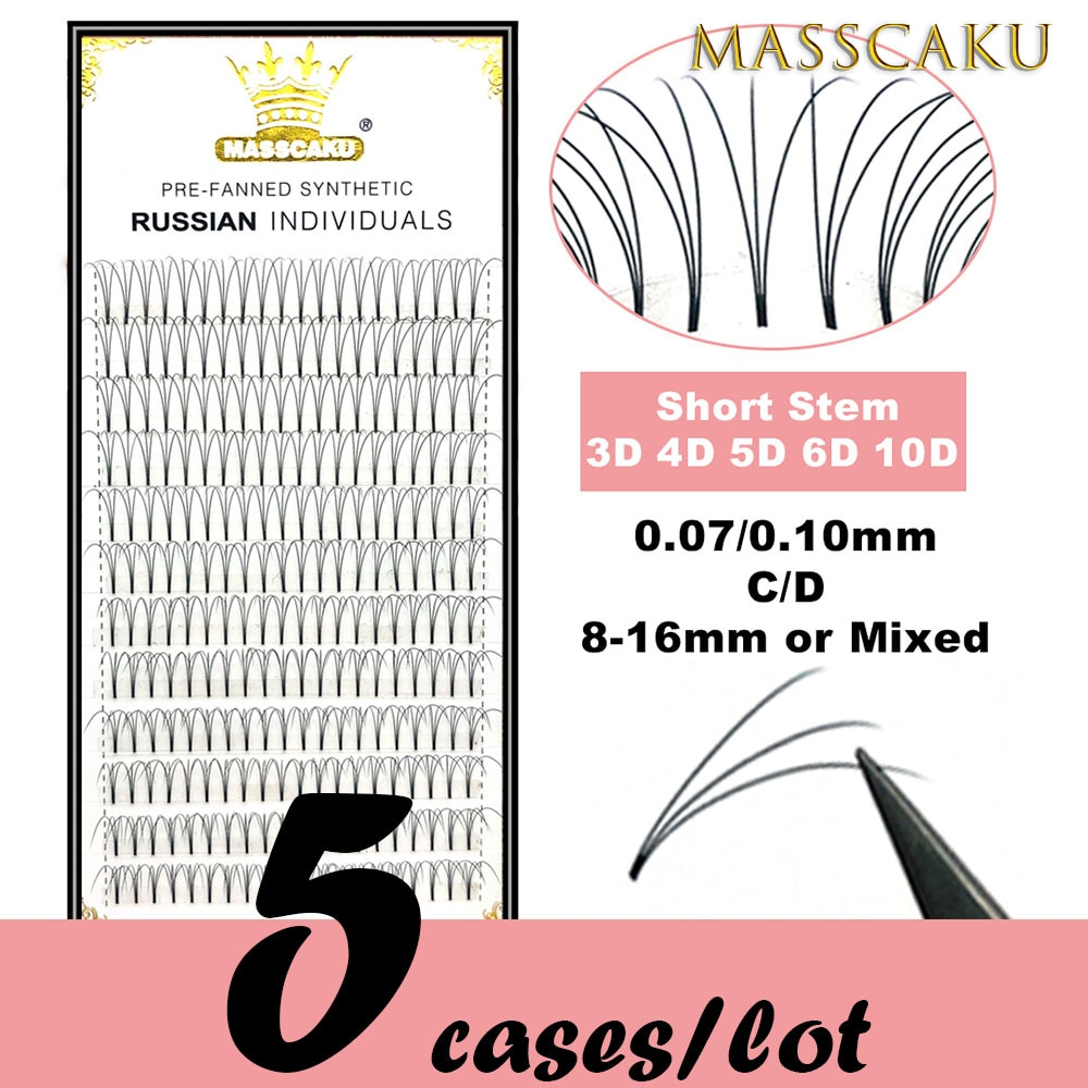 5 cases/lot High quality 3d/4d/5d/6d/10d Short Stem Eyelashes Pre Made Volume fans Premade Russian V