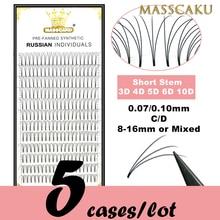 5 cases/lot High quality 3d/4d/5d/6d/10d Short Stem Eyelashes Pre Made Volume fans Premade Russian V