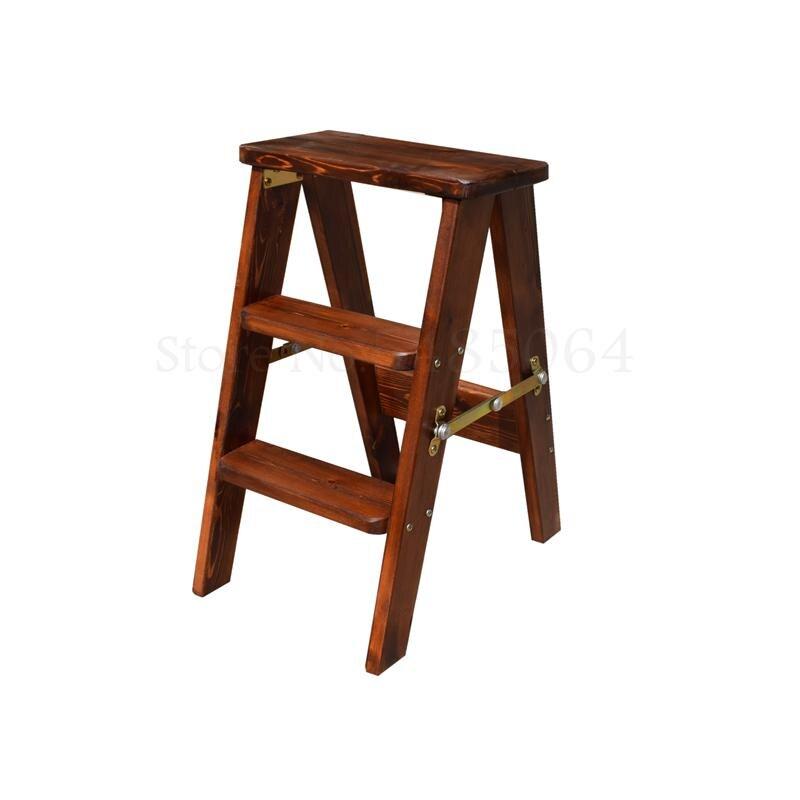 Taburete plegable de pino de madera maciza taburete de escalada Simple taburete plegable de escalera de cocina taburete de doble uso silla plegable para el hogar
