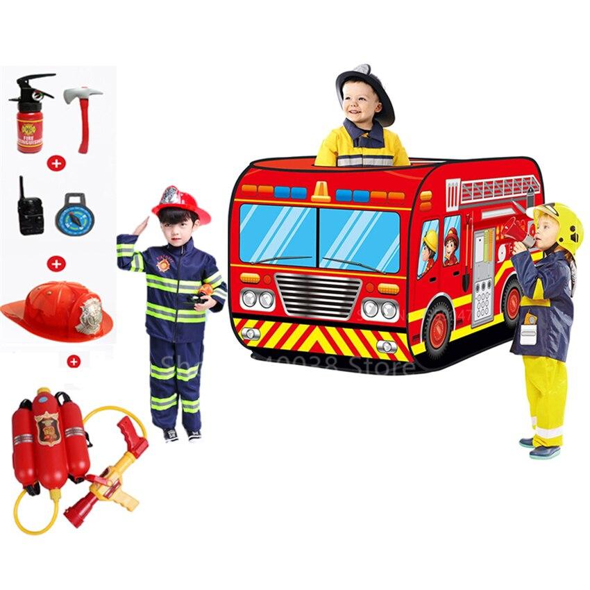 Crianças traje de bombeiro sam cosplay uniforme da polícia meninos meninas caminhão de bombeiros carro arma de água brinquedos conjunto bombeiro cosplay presentes extravagantes
