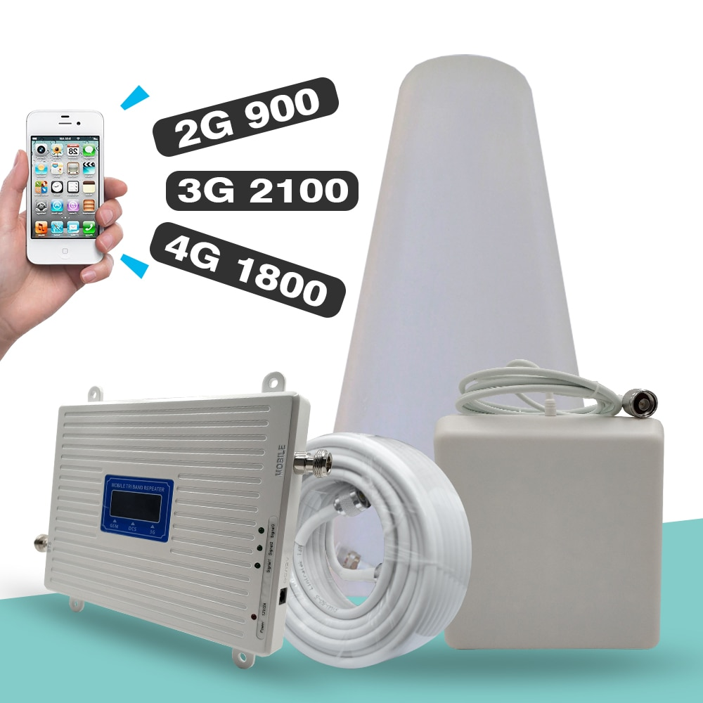 2G 3G 4G Tri-Band Signal Booster GSM 900+DCS/LTE 1800(Band 3)+UMTS/WCDMA 2100(Band 1) Mobile Signal Repeater Cellular Amplifier