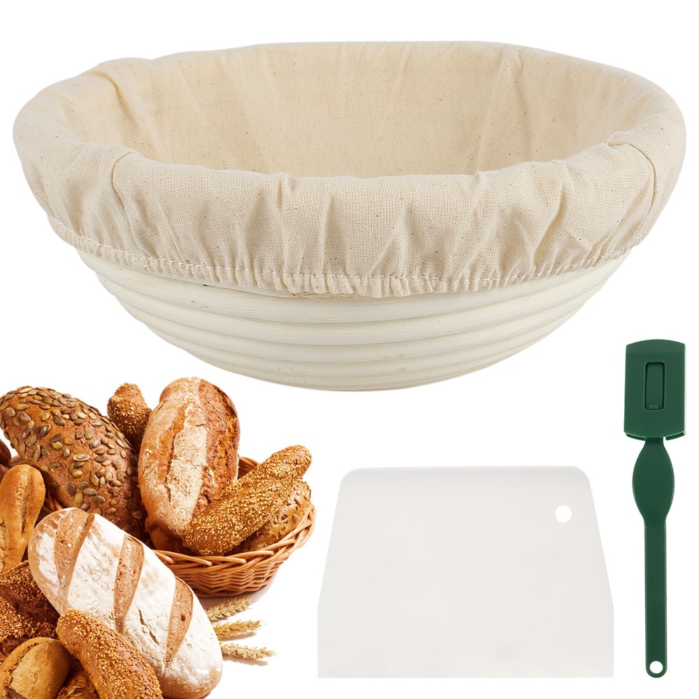 SHZQ الروطان الخبز التدقيق سلة الطبيعية الروطان الخوص العجين التخمير سلة خبز المخمر مع حقيبة ملابس
