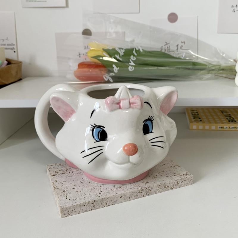 400 مللي Kawaii الكرتون ماري القط كوب ماء ثلاثية الأبعاد لطيف القط الإبداعية السيراميك مج مشروبات عيد الميلاد فتاة هدية