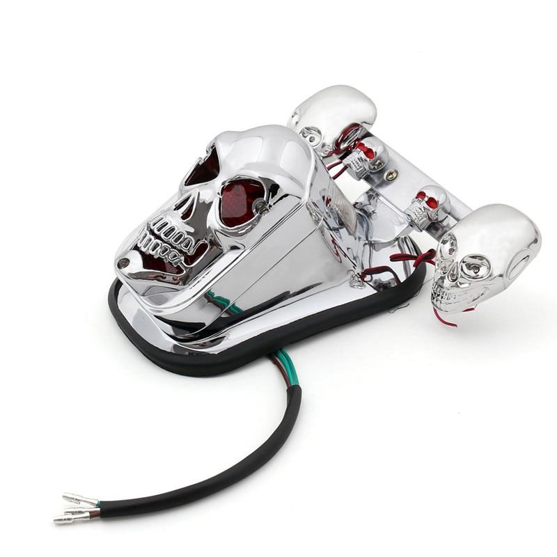إشارة انعطاف LED على شكل جمجمة للدراجة النارية ، مع ضوء خلفي ، ضوء فرامل خلفي ، رباعي ، ATV ، لهارلي ، دراجة رياضية مزدوجة ، كروزر ، بوبر ، تشوبر