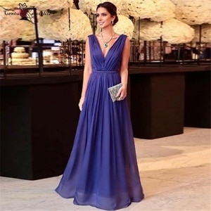 Dark Blue Evening Dresses Long V-Neck Backless Pleats Chiffon Simple Formal Dress Prom Party Gowns 2021 Robe De Soiree Cheap
