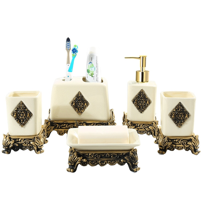 Vintage Style Bathroom Cleaning Supplies Set Hand Sanitizer Bottle Gargle Cup Toothbrush Holder Soap Box Bathroom Accessories