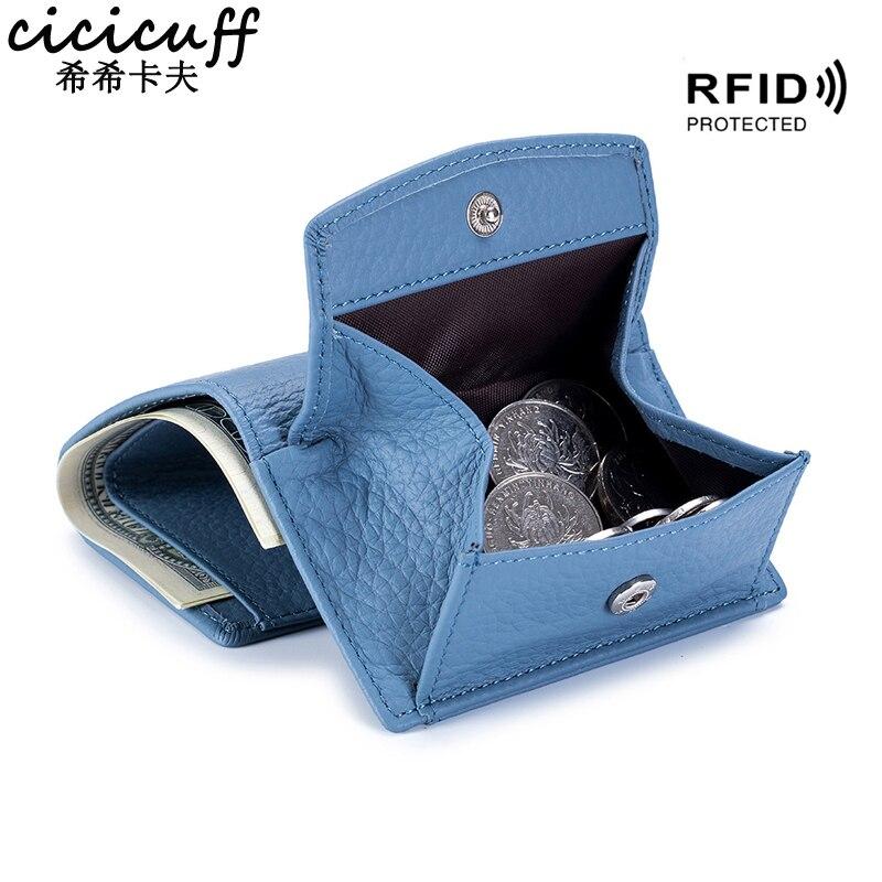 A primeira camada de couro feminino mini carteira rfid bloqueando carteiras de cartão de crédito para homens bolsa curta com bolso de moedas de couro real